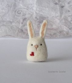 Best 12 * This is a made to order creation. As it is a handmade item each is unique and may differ a little from the photos. A cute needle felted wool bunny with a heart. This little white bunny is made of sheep wool. It is about inches / tall fr Needle Felted Animals, Felt Animals, Felt Diy, Felt Crafts, Felted Wool Crafts, Fabric Crafts, Diy Crafts, Wet Felting, Needle Felting