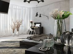 Interior Design, Black Pendant Lamp Concrete Lamp Led Tv 72 Inch Cabinet Flower Vase Cream Wall Wooden Floor White Flower Vase Potted Plants Sheet Draw Curtain Chair Grey Fur Rug And Blanket ~ Comfortable Home Interior Design: Decorate Your Ceiling with Lighting