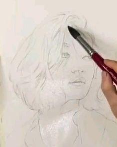 Watercolor Art Face, Watercolor Portraits, Watercolor Paintings, Portrait Sketches, Portrait Art, Hyper Realistic Paintings, Guache, Watercolor Techniques, Painting & Drawing