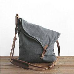 Leather Trimmed Canvas Shoulder Bag