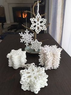 Snowflakes/Christmas tree decoration/handmade/crochet/hanging home decor