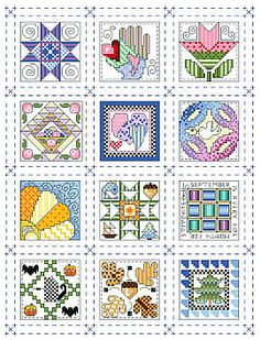 Quilt block of the month mini sampler, available as chart pack or PDF direct download.