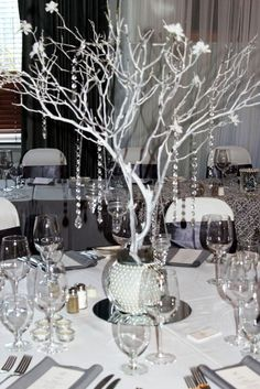 black gray and bling wedding manzanita centerpiece grey silver white bling wedding theme wedding decorations Wedding Decorations White And Silver Manzanita Centerpiece, Bling Centerpiece, Tree Branch Centerpieces, White Centerpiece, Centerpiece Ideas, Bling Wedding Decorations, Table Decorations, Silver Wedding Centerpieces, Anniversary Decorations