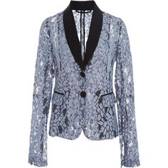 Alexis     Aline Lace Suit Jacket (3,180 CNY) ❤ liked on Polyvore featuring outerwear, jackets, alexis, blue, blue jackets, lapel jacket, lace jackets, blue lace jacket and long sleeve lace jacket