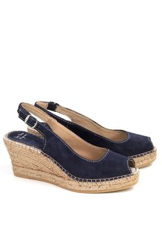 Toni Pons Calpe navy suede slingback peep-toe espadrilles with a jute rope platform base and rubber outsole.