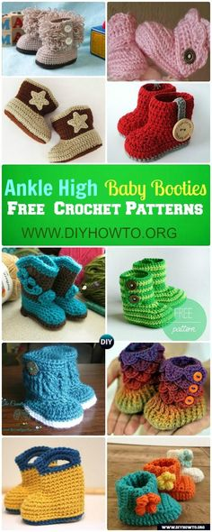 Keep baby feet in style and warmth with these ankle high baby booties/boots free patterns, handmade holiday gift ideas. via @diyhowto
