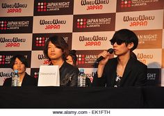 Apr, Yoohei Kawakami, vocalist Alexandros during an interview at a press conference NIGHT JAPAN Saturday night April 2015 in Kota Model Release, Jakarta, Interview, Japan, Stock Photos, Night, Photography, Mall, Photograph