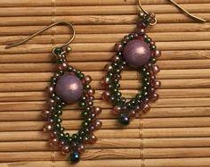 Pink - Green Seed Bead Drop Earrings