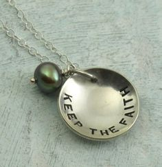 Keep the Faith  sterling silver necklace with a pearl by Kathryn Riechert