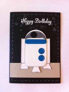 Card handmade, Star wars, Punch art card, Stampin Up science fiction outer space robot
