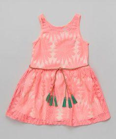 Another great find on #zulily! Pink Sunburst Lace Belted Dress - Girls #zulilyfinds