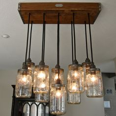 Reserved listing for Ryan - Handcrafted 14 Mason Jar Pendant Light Chandelier  w/ Rustic Style Wood Crate Canopy via Etsy