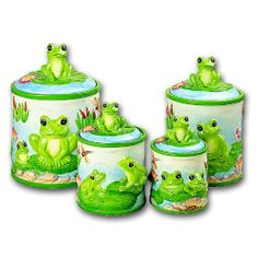 4 Piece FROG Canister Set by kkm. 4 different sizes with rubber gasket to create an air tight seal. Frog Bathroom, Vintage Canister Sets, Frog Pictures, Frog Theme, Frog Art, Cute Frogs, Green Frog, Cartoon Sketches, Snoopy