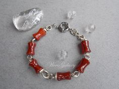 Bracelet with carnelian by WireGalaxy on Etsy