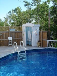 hmmm....I've been thinking I wanted a changing area out at the pool. I like this!
