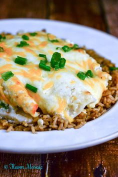 Cheesy Tomatillo Verde Sour Cream Chicken Enchiladas