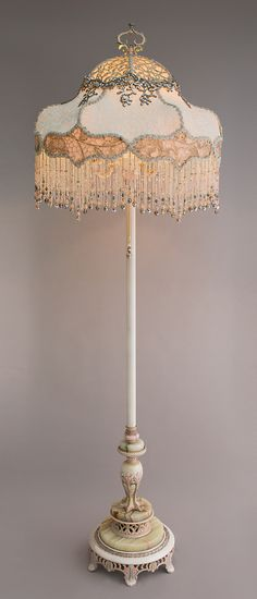 Coronation Wedding Cake Victorian Lampshade with beads and antique textiles