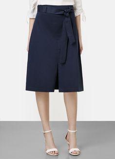 Купить Юбка хлопковая с поясом (LD1Q51) в интернет-магазине одежды O'STIN