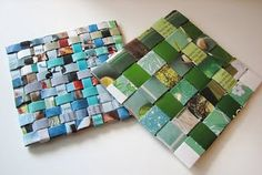 DIY coasters from magazine pages, kinda cute. DIY coasters from magazine pages, kinda cute. DIY coasters from magazine pages, kinda cute. Recycled Magazine Crafts, Recycled Magazines, Old Magazines, Recycled Crafts, Recycled Jewelry, Recycled Materials, Crafts To Do, Crafts For Kids, Arts And Crafts