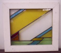 "OLD ENGLISH LEADED STAINED GLASS WINDOW Unique Abstract Design 21.25"" x 19.25"""