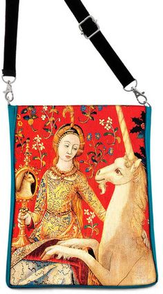 Lady and Unicorn, based on a medieval tapestry, teal version