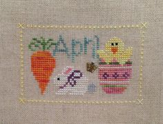 April Monthly Unframed Cross Stitch by backporchquilts on Etsy, $7.50