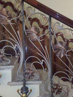 close up of Art nouveau staircase details. barandilla