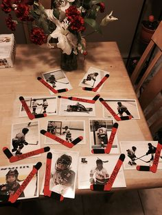 Magnetic picture frame (end of year gift) Hockey Crafts, Hockey Decor, Hockey Room, Hockey Birthday, Hockey Party, Diy Birthday, Hockey Tournaments, Hockey Teams, Hockey Stuff