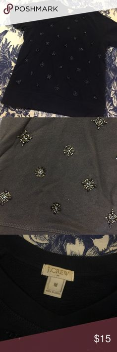 JCrew navy short sleeve beaded sweatshirt JCrew navy short sleeve beaded sweatshirt. Worn rarely. No missing beads. J. Crew Tops