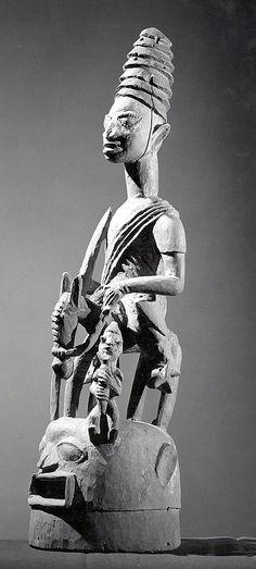 Yoruba Epa/Elefon (Jagunjagun) Mask,Nigeria - Workshop of Bamboshe , possibly Date: 19th–20th century Geography: Nigeria, Ila Orangun or Efon-Alaiye region (?) Culture: Yoruba peoples Medium: Wood, pigment Dimensions: H x W x D: 34 1/16 x 10 1/4 x 11 in. (86.5 x 26 x 27.9 cm)