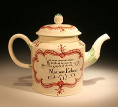 "(2) I cannot find the name Echers in any references and it maybe the case that the name was spent incorrectly which is also a warming feature one constantly finds on early pottery. The teapot was almost certainly made as a gift for our Mathew Echers in 1777. He must have been reminded by the verse on the teapot each time he had a brew ""Let your conversation be such as becomes the Gospel of Christ""."