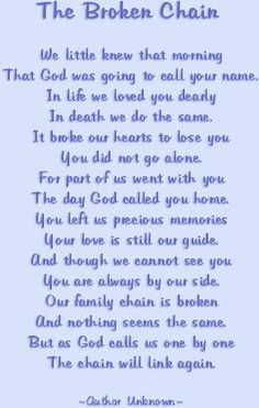 poem- the broken chain.  My dear sister in law just got me a beautiful plaque with this poem on it.  Made me cry