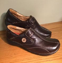 10a1e947cb5 Clarks Unstructured Comfortable Brown Leather Walking Shoe Ladies Size 8M   fashion  clothing  shoes