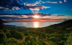 South Africa, Cape Town, sunset scenery, sea, coast, sky, clouds wallpaper 1920x1200