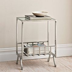"Easton Accent Table - stainless steel with shiny nickel finish. 18"" w x 12"" d x 24"" h. Also possibility for LR."