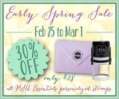PSA stamp sale at Note Worthy. 30% off all stamps from February 25th to March 1st