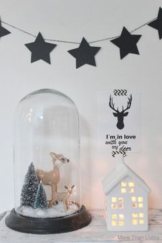 Christmas cloche with deer Christmas Feeling, Noel Christmas, Scandinavian Christmas, Rustic Christmas, All Things Christmas, Winter Christmas, Christmas Ornaments, Theme Noel, Xmas Decorations
