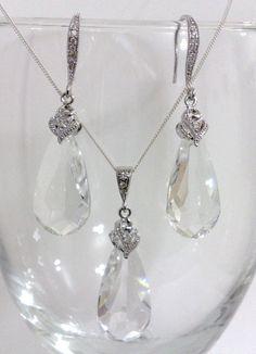 Bridal Jewelry Set Swarovski Crystal Earrings Teardrop by YJDesign, $69.00