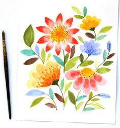 Tavaszi virágos kép vízfestékkel lépésről lépésre / Mindy -  kreatív ötletek és dekorációk minden napra