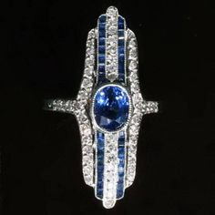 Long Art Deco Ring with Sapphires and Diamonds in Platinum