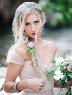 Fishtail braid with garden rose