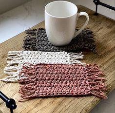 Ravelry: Stay Home Mug Rug pattern by Simply Vintage Crochet Chunky Crochet, Crochet Yarn, Free Crochet, Beginner Crochet, Crotchet, Easy Crochet, Mug Rug Patterns, Crochet Patterns, Quilt Patterns