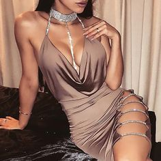 Sexy Women& Bandage Hollow Out Deep V neck Dress Bodycon Sleeveless Backless Clubwear Party Cocktail Mini Dress Club Dresses, Sexy Dresses, Mini Dresses, Clubbing Dresses, Elegant Dresses, Summer Dresses, Winter Dresses, Tight Dresses, Formal Dresses