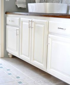 diy painted bathroom cabinets | mark twain house ombre gray