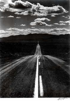 Ansel Adams - Road Nevada Desert, 1960.