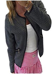 YUNY Women Solid Open-Front Velvet Long-Sleeve Stylish Loose Coat Jacket Grey XS