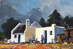Cape Cottages Building Painting, City Painting, Gouache Painting, Painting & Drawing, Landscape Art, Landscape Paintings, Cape Dutch, Mini Canvas Art, Cottage Art