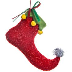 Fabric Elf Boot Ornament - Red | Collections | Holidays | Elegant... ($4.99) ❤ liked on Polyvore featuring home, home decor, holiday decorations, holiday ornament, red home accessories, fabric home decor, hand made ornaments and holiday decor