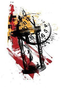 M Tattoos, Bild Tattoos, Watch Tattoos, Tattoos For Guys, Sleeve Tattoos, Arte Trash Polka, Trash Polka Tattoos, Tattoo Trash, Clock Tattoo Design