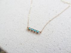 Turquoise bar necklace vintage swarovski necklace by primlark